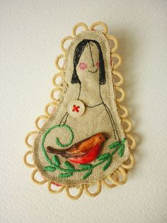 Handmade textile machine embroidered BROOCH ... with a hand painted birdy applied