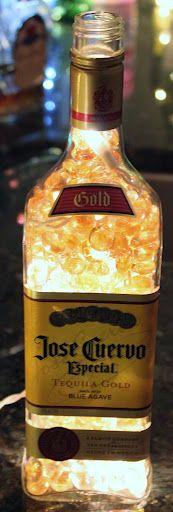 Jose Cuervo bottle, clear lights, tan glass beads
