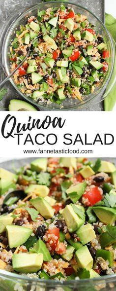 This quinoa taco salad is such an easy healthy dinner or packed lunch The recipe is really just a method - feel free to get creative with it easy lunch ideas healthy packed lunch healthy vegetarian dinner ideas Lunch Healthy, Healthy Packed Lunches, Healthy Salad Recipes, Easy Healthy Dinners, Healthy Drinks, Easy Healthy Lunch Ideas, Quinoa Lunch Recipes, Packed Lunch Ideas, Veggie Lunch Ideas