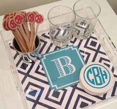love these monogrammed coasters: order with us, Monogram Goods: 231-526-7700