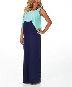 Mint Overlay Maternity Maxi Dress - Women   zulily