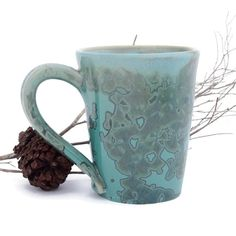 Green Coffee Mugs Crystalline Glazed by SunbirdPottery on Etsy