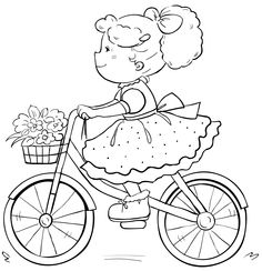 brianna's bike Cute Coloring Pages, Coloring For Kids, Adult Coloring Pages, Coloring Books, Embroidery Patterns, Hand Embroidery, Cross Stitch Patterns, Image Digital, Digi Stamps