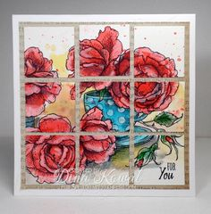 Power Poppy - The Blog: Full O' Color FRIDAY! Customer Creation by Dina Kowal using Power Poppy's Everything's Rosy Digital Stamp Set.