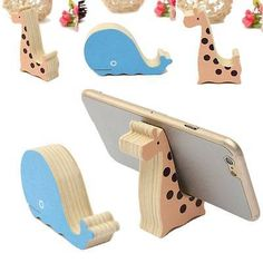Universal Mini Wood Animal Cell Phone Desk Stand Holder For iPhone Samsung HTC