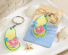 Flip Flop Tropical Flower Key Ring