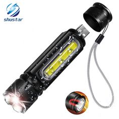 Buy Waterproof Rechargeable LED Flashlight COB Work light Torch 4 lighting modes Support zoom Used for camping, cycling, work, etc Super Bright Flashlight, Rechargeable Led Flashlight, Fish Model, Work Lights, Focal Length, Cob, Aluminium Alloy, Lamps, Cycling