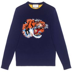 Gucci Wool Sweater With Tiger Intarsia (€1.010) ❤ liked on Polyvore featuring men's fashion, men's clothing, men's sweaters, blue, mens blue sweater, men's wool crew neck sweaters, mens crew neck sweaters, mens woolen sweaters and gucci mens sweater