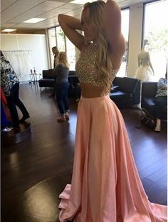 Lovelybride 2 Pieces Halter Rhinestones Crop Top High Slit Long Prom Dress