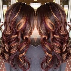 Pictures Of Dark Brown Hair With Caramel And Red Highlights