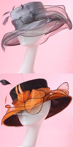 Europe style women kentucky derby hats for fashion dresses girl ladies pillbox hat summer Luxury feather sun hat organza cloche