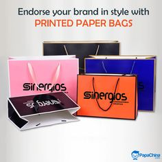 Endorse your brand in style with Printed Paper Bags. #paperbags #bags #promotionalbags #ecofriendly   #environmental #promotion #Marketing #Advertising #Giveaways #gift #gifts #events #wholesale #branding Paper Bags Wholesale, Promotion Marketing, Print On Paper Bags, Promotional Bags, Picnic Bag, Luggage Bags, Giveaways, Advertising, Branding