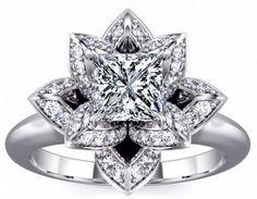 Engagement Ring - Lotus Princess Diamond Engagement Ring in 14K White Gold - ES1006WG