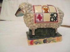 JIM SHORE DESIGNS, INC. BARNYARD SHEEP SUGAR BOWL OR TRINKET BOX W/ QUILT ON