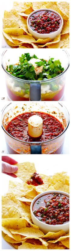 BEST Salsa This Restaurant-Style Salsa Recipe only takes 5 minutes to make, and is totally fresh and delicious!This Restaurant-Style Salsa Recipe only takes 5 minutes to make, and is totally fresh and delicious! I Love Food, Good Food, Yummy Food, Tasty, Restaurant Style Salsa, Easy Restaurant, Fingerfood Party, Appetizer Recipes, Appetizers