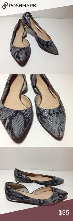 Banana Republic Snakeskin Leather D'Orsay Flat Banana Republic Grey snakeskin embossed leather D'Orsay pointy flats shoes. Size 6.5. Pre-owned in excellent condition with minor scuffs but nothing to noticeable. If you have any questions , please leave a comment below. Banana Republic Shoes Flats & Loafers