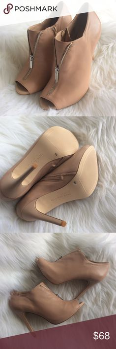 NIB Leather Zipper Booties Sz 9 Brand new in the box buttery soft genuine leather heeled boots with a faux zip front and peep toe opening. Nude color. Gianni Bini Shoes Ankle Boots & Booties