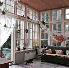 Three season room windows hammocks porch