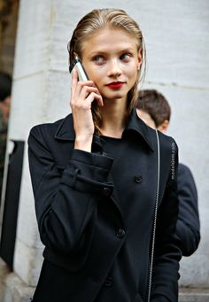 Anna Selezneva after the Barbara Bui fashion show in Paris, all black + red lips.