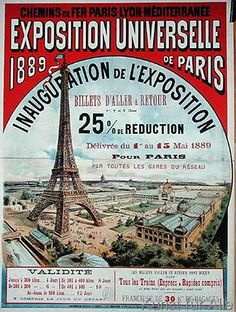 French School - Poster advertising reduced price train tickets to the Exposition Universelle of 1889, from the Chemins de Fer Paris-Lyon-Mediter