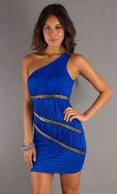 One Shoulder Blue Homecoming Dress Blue
