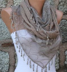 Beige Scarf   Cowl Scarf  Lace Scarf  fatwoman by fatwoman on Etsy, $19.90