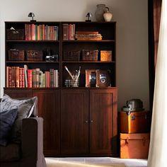 BORGSJÖ brown shelf units with doors