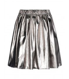 MSGM Metallic Flare Skirt - Shop more bright ideas for styling neon hues: http://shop.harpersbazaar.com/in-the-magazine/what-s-in-lite-brite
