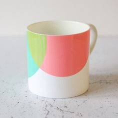 Green & Pink Bone China Mug (£15) ❤ liked on Polyvore featuring home, kitchen & dining, drinkware, green mug, pink mug and bone china