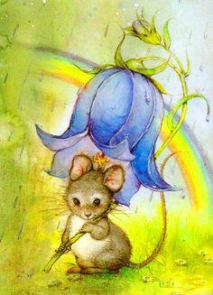 12 beaux tableaux de lisi martin - Page 2 Art And Illustration, Illustration Mignonne, Cute Animal Drawings, Cute Drawings, Art Fantaisiste, Art Mignon, Mouse Pictures, Cute Mouse, Cute Images