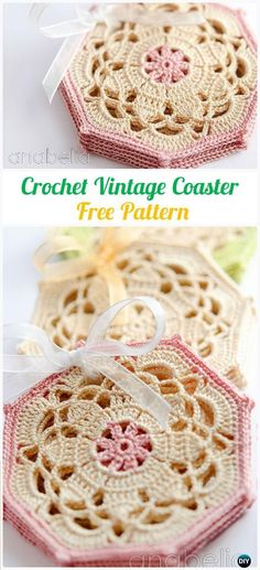 Crochet Vintage Octagon Coasters Free Pattern - Crochet Coasters Free Patterns