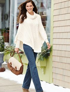 Talbots - Cable Cowlneck Poncho | Coats and Outerwear |