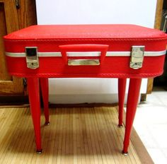 Bird Woman Holiday'  Vintage Suitcase Table upcycled storage RED MAMA. $80.00, via Etsy.