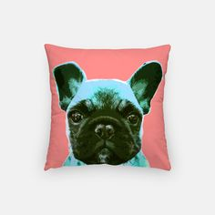 Black french bulldog puppy throw pillow on pink background