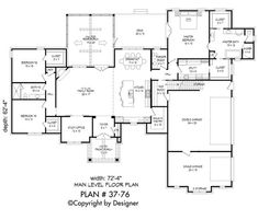 Remove garage and move master to back to make atrium. House Plan First Floor Plan, Craftsman Style House Plans House Plans One Story, Family House Plans, Ranch House Plans, Best House Plans, Dream House Plans, Modern House Plans, Dream Houses, Ranch Style Floor Plans, Story House