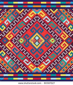 Ukrainian ethnic seamless ornament, vector illustration. May be used as background, wrap paper, wallpaper, fabric, sticker for cases, covers. Endless Slavic national decorative design. - stock vector