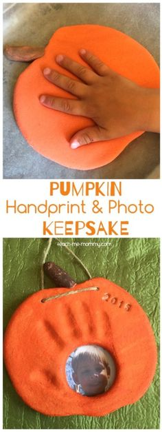 A lovely pumpkin keepsake to make with your little pumpkins hand and photo!