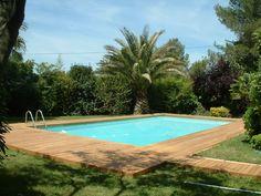 Terrasse de piscine en Teck visserie cachée avec margelle intégrée ...