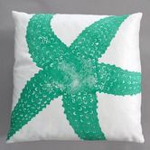 Found it at AllModern - Starfish Turquoise Pillow on White Linen