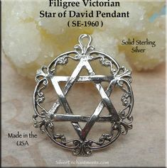 Sterling Silver Victorian Star of David Pendant