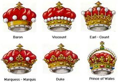Nobility - rank coronets - nobility crowns - Medieval nobility