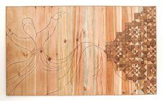 Darvesh & Universe - Wood Mosaic - November 2016 by Sureel Kumar at SureelArt. Made with teak pieces, pine, plywood and wood sealer. Wood Sealer, Wood Mosaic, Teak, November, Universe, Chandelier, Ceiling Lights, Texture, Lighting