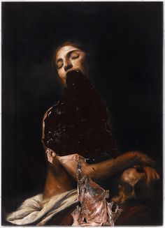 Nicola Samori - Maddalena, oil on wood. Meticulously painted mannerist oils, then peeled and slumped selectively from the canvas. Olgierd Von Everec, Art Noir, The Ancient Magus, Italian Artist, Oscar Wilde, Horror Art, Vampires, Painting & Drawing, Human Painting