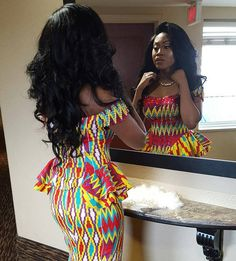 """""""The gown so vibrant and en-vogue African Attire, African Wear, African Fashion Dresses, African Dress, Ankara Fashion, African Style, African Clothes, Short Black Haircuts, African Inspired Clothing"""