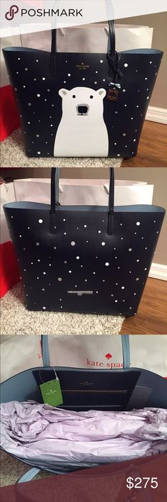 "❤️Kate Spade Limited Polar Bear Tote  ⭐️NWT Kate Spade Limited Holiday Edition Polar Bear Tote .. Two shoulder straps black leather 8 "" DripCowhide leather light blue interior with large slip pocket interior Limited item**Super Adorable ❤️This is an XL Size Tote.. Don't miss out on this cutie.. Won't last long!!! Dimensions 17L x 14H x 8W.. NO TRADESLess on Ⓜ️ kate spade Bags Totes"