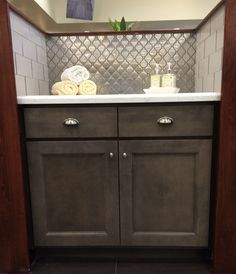 Loving The Look Of Our Newly Installed Backsplash This Stainless Steel Arabesque Mosaic Is Available