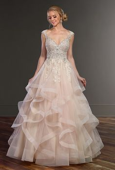 Princess Cut Wedding Dress with Layered Tulle Skirt | Tulle skirts ...