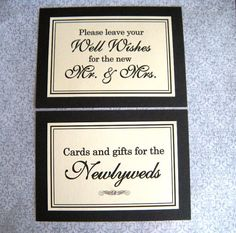 5x7 Flat Wedding Sign Package in Black and Cream - Cards and Gifts for the Newlyweds and Wedding Guest Book READY TO SHIP