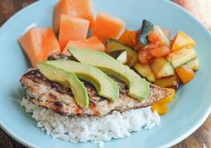 Grilled Chicken and Avocado served with Seasonal Veggies and Cantaloupe - completely gluten free, corn free, soy free, dairy free and sugar free meal!