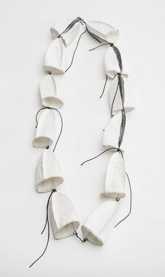 Sculptural Paper Jewellery - white necklace made with mulberry paper; modern art jewelry // Myung Urso
